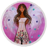 Round Beach Towel featuring the painting Pink Angel Of Life by Pristine Cartera Turkus