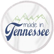 Round Beach Towel featuring the photograph Made In Tennessee Blue by Heather Applegate