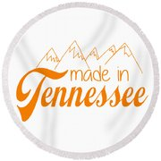 Round Beach Towel featuring the digital art Made In Tennessee Orange by Heather Applegate
