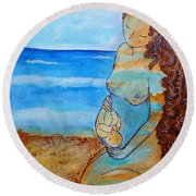 Round Beach Towel featuring the painting Made Of Water by Gioia Albano