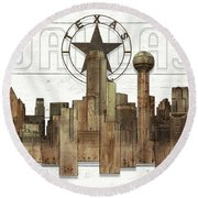 Made-to-order Dallas Texas Skyline Wall Art Round Beach Towel