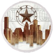 Made-to-order Houston Texas Skyline Wall Art Round Beach Towel