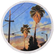 Round Beach Towel featuring the painting Madison Ave Sunset by Andrew Danielsen