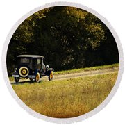 Madison County Back Roads-ford Round Beach Towel