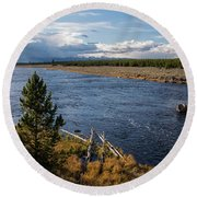 Madison River In Yellowstone National Park Round Beach Towel