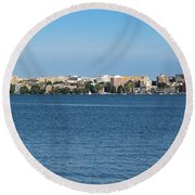 Madison Skyline From Picnic Point Round Beach Towel