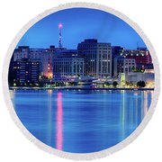 Madison Skyline Reflection Round Beach Towel