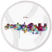 Round Beach Towel featuring the mixed media Madison Skyline Silhouette by Marian Voicu