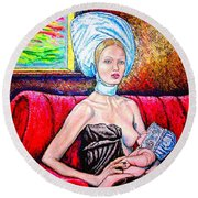 Madonna And Baby Round Beach Towel