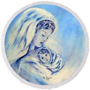 Madonna And Child By May Villeneuve Round Beach Towel