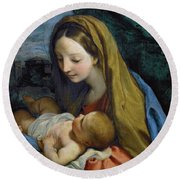 Round Beach Towel featuring the painting Madonna And Child by Carlo Maratta