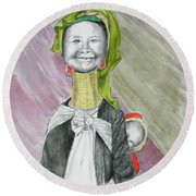 Madonna And Child -- The Original -- Whimsical Portrait Of Asian Woman And Child Round Beach Towel