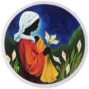 Madonna And Child Of The Callas Round Beach Towel