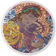 Madonna And Child The Sacred And Profane Round Beach Towel