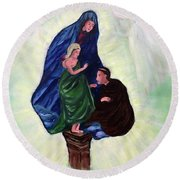 Madonna And Child With St Anthony Round Beach Towel