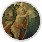 Madonna And Child With St. John The Baptist Round Beach Towel