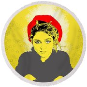 Madonna On Yellow Round Beach Towel