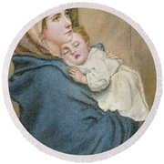 Madonna Of The Poor  Round Beach Towel