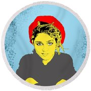 Madonna On Blue Round Beach Towel