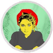 Madonna On Green Round Beach Towel