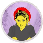 Madonna On Purple Round Beach Towel