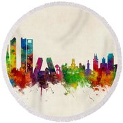 Madrid Spain Skyline Round Beach Towel