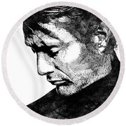 Mads Mikkelsen Round Beach Towel by Mihaela Pater