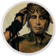 Mads Mikkelsen Painting Round Beach Towel