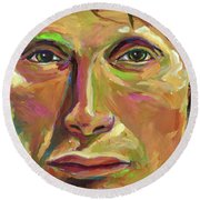 Mads Mikkelsen Round Beach Towel by Robert Phelps