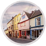 Round Beach Towel featuring the photograph Magdalene Street Cambridge by Gill Billington