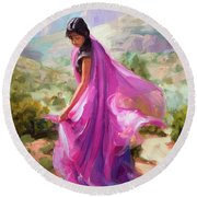 Round Beach Towel featuring the painting Magenta In Zion by Steve Henderson