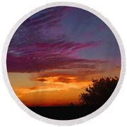 Magenta Morning Sky Round Beach Towel