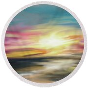 Magenta Sea Round Beach Towel
