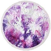 Magenta Violet Abstract Round Beach Towel by Joan Hartenstein