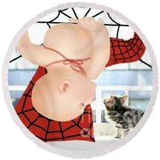 Magic Baby Face-spider Baby Round Beach Towel