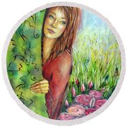 Magic Garden 021108 Round Beach Towel by Selena Boron