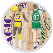 Magic Johnson And Larry Bird Round Beach Towel by Chris Brown