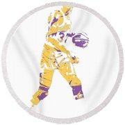 Magic Johnson Los Angeles Lakers Pixel Art 5 Round Beach Towel
