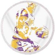 Magic Johnson Los Angeles Lakers Pixel Art 6 Round Beach Towel