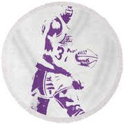 Magic Johnson Los Angeles Lakers Pixel Art Round Beach Towel