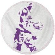 Magic Johnson Los Angeles Lakers Pixel Art Round Beach Towel by Joe Hamilton