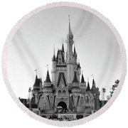 Magic Kingdom Castle In Black And White Mp Round Beach Towel