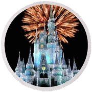Magic Kingdom Castle In Frosty Light Blue With Fireworks 02 Mp Round Beach Towel