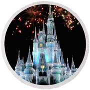 Magic Kingdom Castle In Frosty Light Blue With Fireworks 03 Mp Round Beach Towel