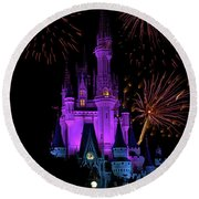 Magic Kingdom Castle In Purple With Fireworks 02 Pm Round Beach Towel