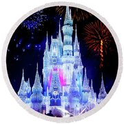 Magic Kingdom Fireworks Round Beach Towel