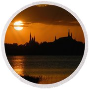 Magic Kingdom Sunset Round Beach Towel