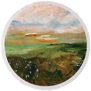 Round Beach Towel featuring the painting Magic Marsh by Michael Helfen