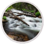 Round Beach Towel featuring the photograph Magic Mountain Stream by James BO Insogna