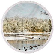 Magic Of Winter Round Beach Towel